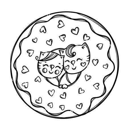 VALENTINE DOUGHNUT Cute Kittens Stuck His Head In Donut Sweet Holiday Cartoon Monochrome Hand Drawn Clip Art Vector Illustration For Print