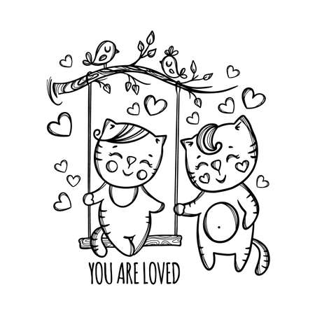 YOU ARE LOVED Valentine Day Kitten And His Girlfriend Resting In The Nature In Valentine Day Cartoon Hand Drawn Monochrome Vector Illustration For Print