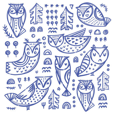 FOREST OWL COLLECTION Bird Variations With Trees And Other Plants In Blue Color On White Backgroung Hand Drawn Cartoon Clip Art Vector Illustration For Print 向量圖像