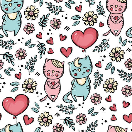 VALENTINE DAY BALLOON Cute Enamored Kitten With Balloon Offers His Heart To Sweetheart Cartoon Animals Hand Drawn Seamless Pattern Vector Illustration For Print 向量圖像