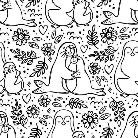 MOM AND DAUGHTER Hugging Cute Sea Animals Hug Their Children Parental Relationship Monochrome Hand Drawn Seamless Pattern Vector Illustration For Print