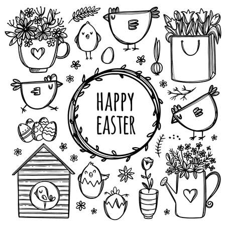 EASTER COLLECTION With Funny Chickens Chicks And Flowers To Spring Holiday Monochrome Floral Hand Drawn Cartoon Clip Art Vector Illustration Set For Print