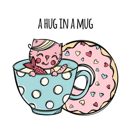 MUG AND DOUGHNUT Cute Kitten Caught Fish In Cup With Hot Drink Festive Cartoon Hand Drawn Sketch With Handwriting Text Clip Art Vector Illustration For Print