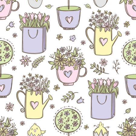 EASTER FLOWERS Festive Background With Floral Bouquets In A Cup Watering Can And Paper Bag Hand Drawn Cartoon Seamless Pattern Vector Illustration For Print 向量圖像