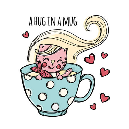 FISHING IN MUG Cute Kitten Caught Fish In Cup With Hot Drink Festive Cartoon Hand Drawn Sketch With Handwriting Text Clip Art Vector Illustration For Print
