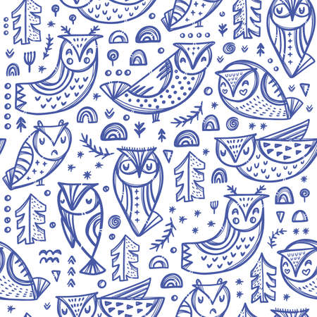 FOREST OWL Variations Of Blue Bird Characters With Trees And Other Plants On White Backgroung Cartoon Hand Drawn Seamless Pattern Vector Illustration For Print