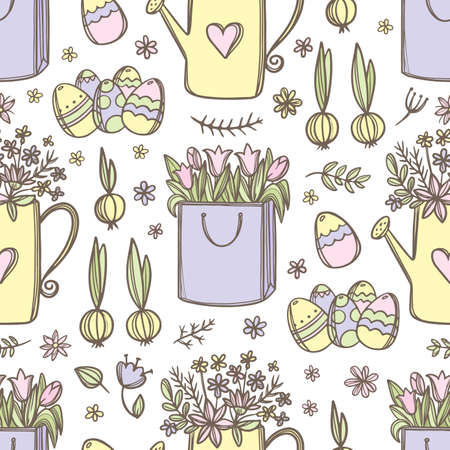 EASTER PACKAGE With Festive Spring Bouquet Tulips Spring Flowers In Watering Can And Easter Eggs Hand Drawn Seamless Pattern Vector Illustration For Print