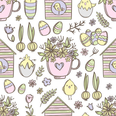 EASTER MUG With Festive Spring Bouquet Flower Cute Chicks And Birdhouses With Birds Hand Drawn Cartoon Seamless Pattern Vector Illustration For Print