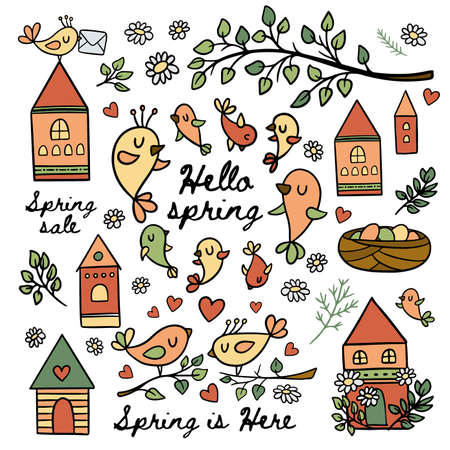 BIRDS IN SPRING Makes Their Nests Blooming Nature Branch With Leaves Merry Houses And Handwritten Text Cartoon Clip Art Vector Illustration Set For Print