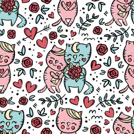 CAT GIVES BOUQUET Roses To His Girlfriend Who Holds Letter And Smiles Valentine Day Cartoon Hand Drawn Colorful Seamless Pattern Vector Illustration For Print 向量圖像