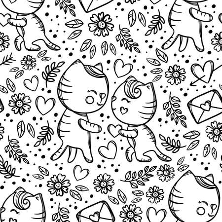 CAT GIVES HEART To Sweetheart Standing Knee And Makes Marriage Proposal Enamored Hand Drawn Monochrome Cartoon Seamless Pattern Vector Illustration For Print 向量圖像