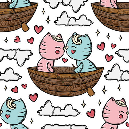 CAT KISS IN BOAT And Floating With His Sweetheart Among The Clouds Valentine Day Cartoon Hand Drawn Seamless Pattern Vector Illustration For Print