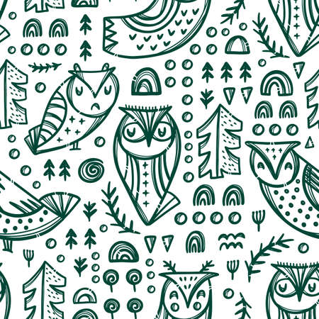 ABSTRACT GREEN OWLS Variations Of Night Bird With Trees And Other Plants On White Backgroung Cartoon Hand Drawn Seamless Pattern Vector Illustration For Print 向量圖像