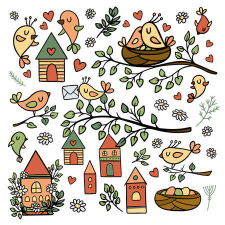 SPRING MOOD OF BIRDS Making Nests Blooming Nature Merry Houses Flowers And Blossom Plants And Branches Cartoon Clip Art Vector Illustration Set For Print