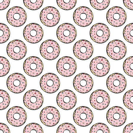 DONUT TEXTILE Delicious Valentine Day Treat Sweet Bakery Decorated With Hearts On White Cartoon Hand Drawn Seamless Pattern Vector Illustration For Print
