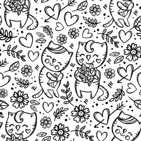 CAT GIVES BOUQUET MONOCHROME Roses To His Girlfriend Who Holds Letter And Smiles Valentine Day Cartoon Hand Drawn Seamless Pattern Vector Illustration For Print 向量圖像