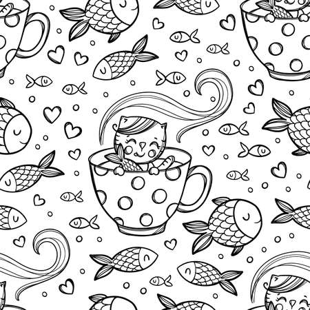 CAT LOVE FISH Cute Kitten Caught Fish In Cup With Hot Drink Among Pisces Cartoon Hand Drawn Monochrome Sketch Seamless Pattern Vector Illustration For Print 向量圖像