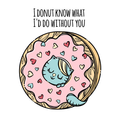 KITTEN IN DONUT Cute Cat Stuck His Head In Donut Sweet Valentine Day Holiday Cartoon Hand Drawn With Handwriting Text Clip Art Vector Illustration For Print 向量圖像