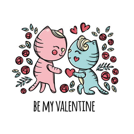 VALENTINE CATS Enamored Kitten Gives His Heart To Sweetheart Standing Knee Cartoon Hand Drawn Clip Art With Handwriting Text Vector Illustration For Print