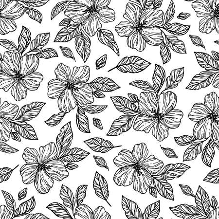 MONOCHROME FLOWERS Hibiscus With Leaves Hand Drawn Sketch On White Background In Chinese And Japanese Styles Cartoon Seamless Pattern Vector Illustration For Print