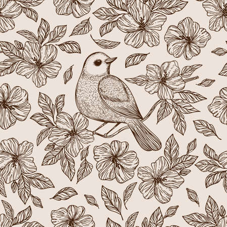 NIGHTINGALE ON FLOWER Hibiscus With Leaves Monochrome Hand Drawn Sketch In Chinese And Japanese Styles Cartoon Seamless Pattern Vector Illustration For Print