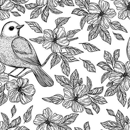 NIGHTINGALE ON BRANCH Hibiscus Flowers Monochrome Hand Drawn Sketch In Chinese And Japanese Styles Cartoon Seamless Pattern Vector Illustration For Print 向量圖像