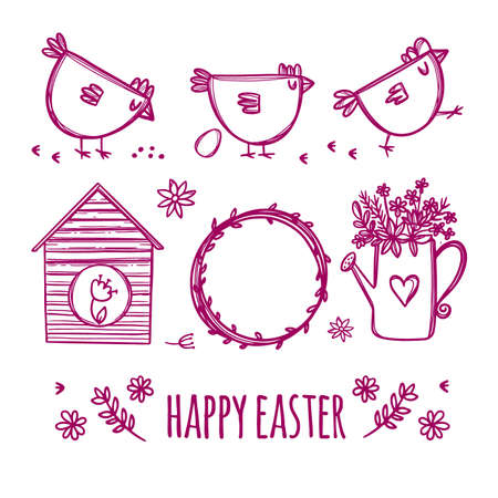 EASTER SKETCH Of The Spring Holiday With Cute Chickens And Flowers In Red Color On A White Background Cartoon Hand Drawn Vector Illustration Set For Print