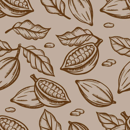 CHOCOLATE FRUIT And Leaves Design In Brown Color On Light Brown Background In Vintage Style Monochrome Hand Drawn Seamless Pattern Vector Illustration For Print 向量圖像
