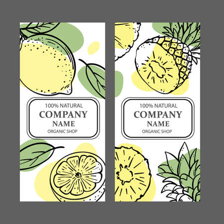 LEMON PINEAPPLE Design Of Stickers And Labels For Shop Of Organic Natural Products And Dessert Drink Products In Sketch Style Vector Illustration Set For Print Vettoriali