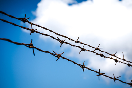 Barbed wire against blue sky, selective focus.