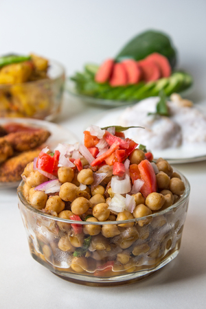 Chana Masala or Spicy Chickpeas, Chola Chaat Stock Photo