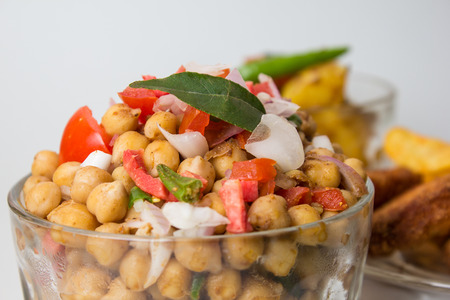 Chana Masala or Spicy Chickpeas, Chola Chaat Banco de Imagens