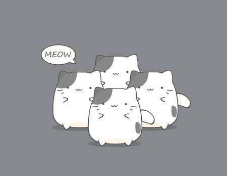 cute cartoon: Cute Fat cats cartoon Illustration