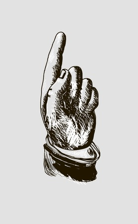 man pointing up: vector drawing hand with index finger pointing up.