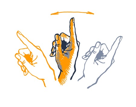 vector drawing hand with index finger pointing up.