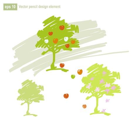 Set of stylized apple tree vector illustration. Three seasons. Illustration