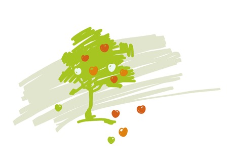 farmstead: Vector stylized drawing of apple tree with ripe fruits. Abstract apple, design element.