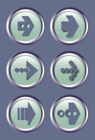 vector buttons: set of stylized vector buttons with different arrows.  Vector illustration.