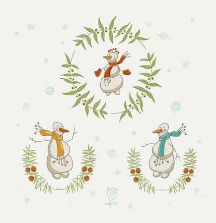 coronas navidenas: Guirnaldas de la Navidad fijados con los elementos gr�ficos del mu�eco de nieve y A�o Nuevo, s�mbolos de vacaciones. Ilustraci�n del vector. Vectores
