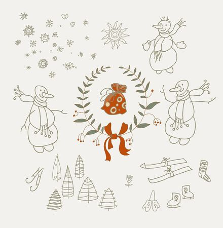 coronas de navidad: Guirnaldas de la Navidad fijados con los elementos gráficos del muñeco de nieve y Año Nuevo, símbolos de vacaciones. Ilustración del vector. Vectores