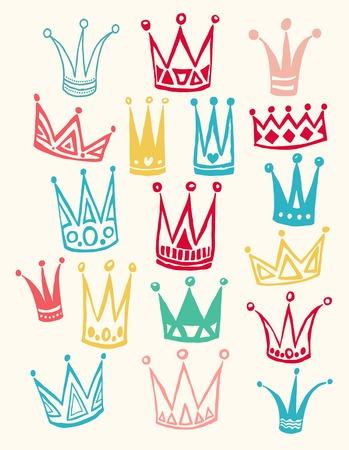 corona real: Conjunto de coronas de dibujos animados lindo. Dibujo a mano de vectores de fondo. Color pastel. Ilustración del vector. Vectores