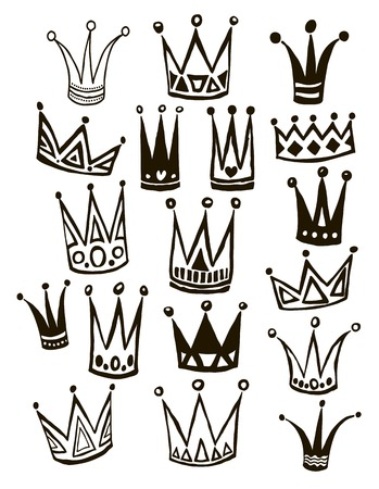 corona de reina: Set of cute cartoon crowns. Hand drawing vector background. Graphic black image on white background. Vector illustration. Vectores