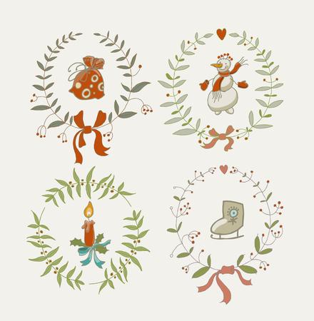 guirnaldas de navidad: Guirnaldas de la Navidad fijados con los elementos gráficos del muñeco de nieve y Año Nuevo, símbolos de vacaciones. Ilustración del vector. Vectores