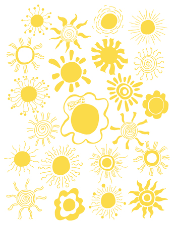sunshine: Hand drawn set of different suns isolated. Vector illustration. White backdrop. Elements for design Illustration