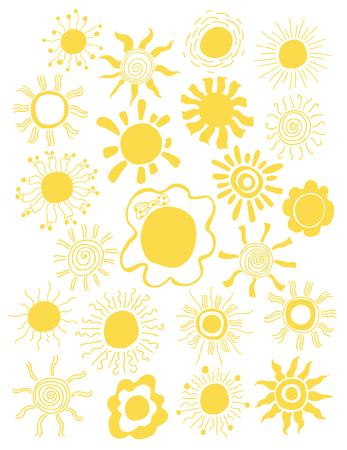 sol caricatura: Mano dibujado conjunto de diferentes soles aislado. Ilustración del vector. telón de fondo blanco. Elementos para el diseño