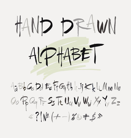 grunge background: Hand drawn alphabet in retro style. ABC for your design. Letters of the alphabet written with a brush.