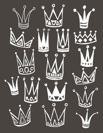 principe: Set di corone cartone animato. disegno a mano vettore sfondo. Illustrazione vettoriale.