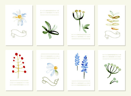 gently blue: Hand drawn collection of romantic floral invitations. 8 gentle cards.  Isolated. Illustration