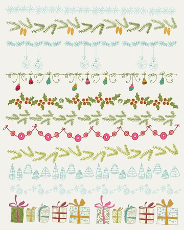border: Set of Christmas and decorative elements. Gifts, christmas trees, stars and other element. Vector illustration. Christmas decoration  design collection. Hand Drawn graphic elements.