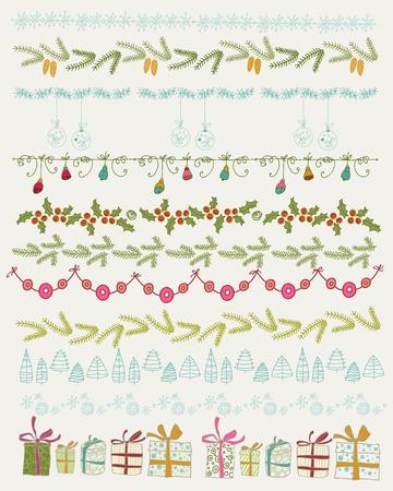Set van Kerstmis en decoratieve elementen. Geschenken, kerstbomen, sterren en andere element. Vector illustratie. Kerst decoratie design collectie. Hand getrokken grafische elementen.